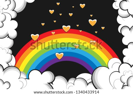 rainbow surrounded by clouds