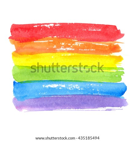 Rainbow texture, symbol of gay pride. Vector watercolor spectrum. Hand drawn paint strokes isolated on white background Сток-фото ©