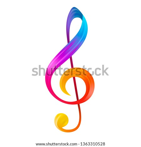 Rainbow Treble Clef Musical Note . Colorful Gradient Icon