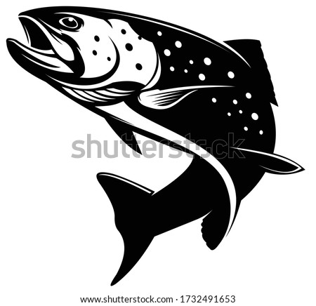Rainbow Trout logo, Unique And Fresh Rainbow Trout fish jumping out of the water, Great for your rainbow fishing activity.  Stock photo ©