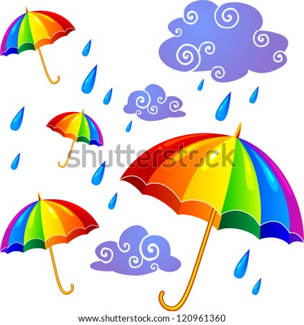 Rainbow umbrellas and violet clouds