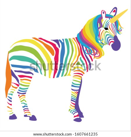 Rainbow Unicorn Zebra Vector Illustration, Magical Creature, Spiritual Animal, Fantasy Animal, Safari Animal