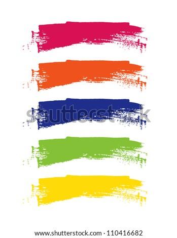 Rainbow vector brush strokes collection