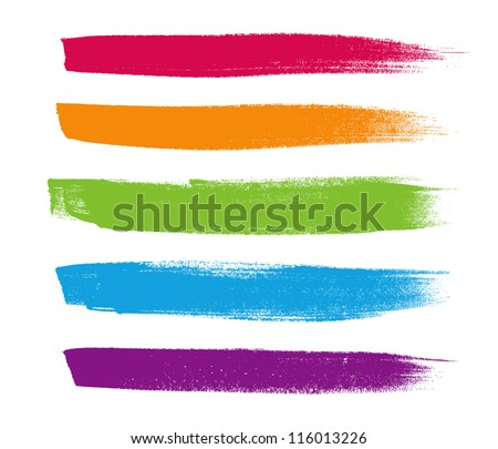 Rainbow vector brush strokes collection #116013226