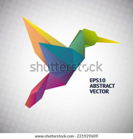 rainbow vector hummingbird