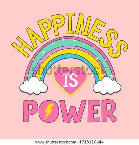 Rainbow vector illustration for t-shirt design with slogan. Stock photo ©