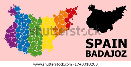Rainbow vibrant collage vector map of Badajoz Province for LGBT, and black version. Geographic collage map of Badajoz Province is organized from scattered circle dots.