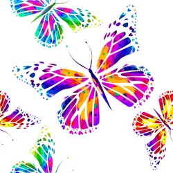 rainbow watercolor background with butterflies. seamless background. Vector
