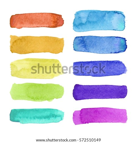 Shutterstock Rainbow watercolor brush stroke green stripes isolated on white. Colorful painted grunge stripes set. Vector illustration.
