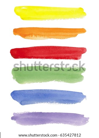 Rainbow watercolor brush stroke green stripes isolated on white. Colorful painted grunge stripes set. Vector illustration. #635427812