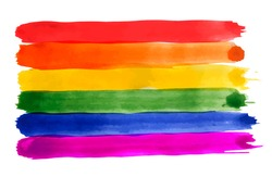 Rainbow. Watercolor imitation. Bright vector illustration isolated on white background. Red, orange, yellow, green, blue, purple textured bands. Set of color grunge brushes. Gay pride LGBT flag.