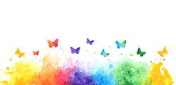 rainbow watercolor splash background with flying butterflies. vector illustration