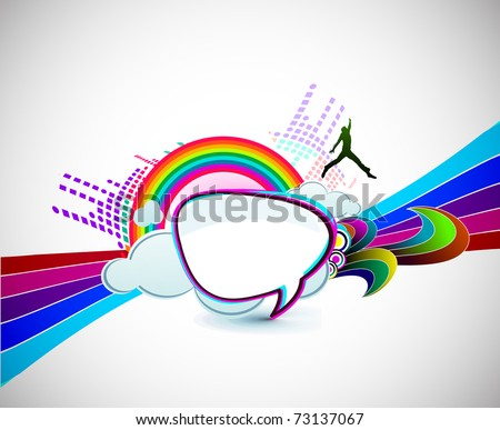 rainbow wave isolated on white happy man background. - stock vector