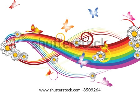 Rainbow with flowers and butterflies on white background