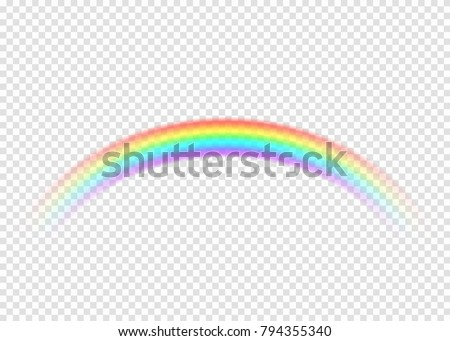 Rainbow with limpid section edge isolated on transparent background. Realistic rain arch in circle curl shape. Vector illustration
