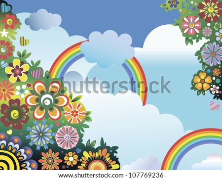 Rainbows and flowers