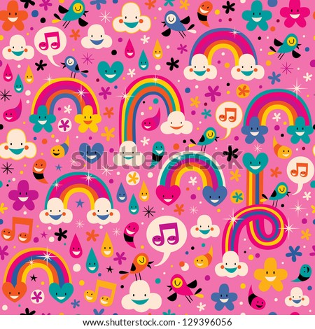 rainbows pattern - stock vector