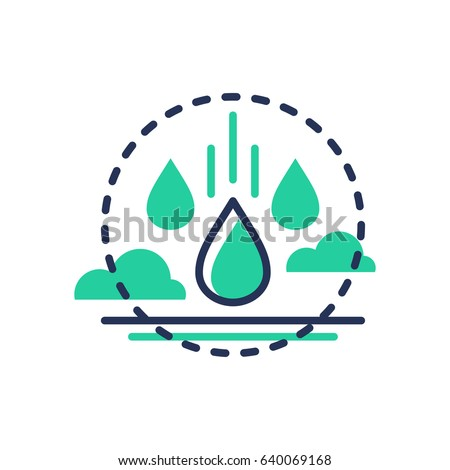 Raindrop - modern vector single line icon. An image of a water drops coming from the air, clouds. Representation of freshness, liquid, life, vitality, nature, rainfall