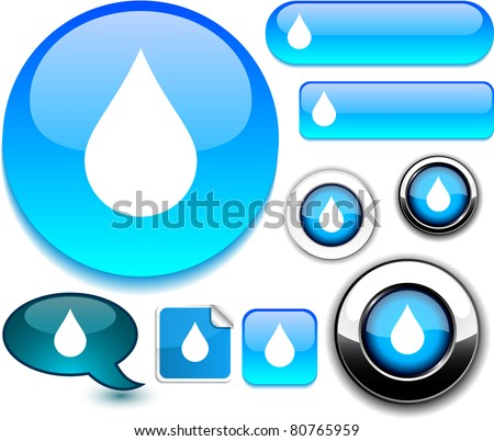 Raindrop vector glossy icons.