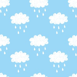 Raining cloud and falling drops seamless pattern. White on blue background. Children style vector illustration
