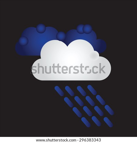 Raining. Vector image with dark clouds in wet day