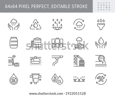 Rainwater harvesting line icons. Vector illustration include icon - barrel, stainless steel reservoir, liquid drainage outline pictogram for water recycling. 64x64 Pixel Perfect, Editable Stroke. Stok fotoğraf ©