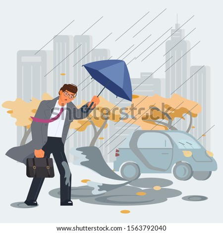 Rainy and windy day and unlucky walking young businessman holding an umbrella, walking under the rain. The car sprayed mud from a puddle on a man in a suit. Flat Art Vector illustration