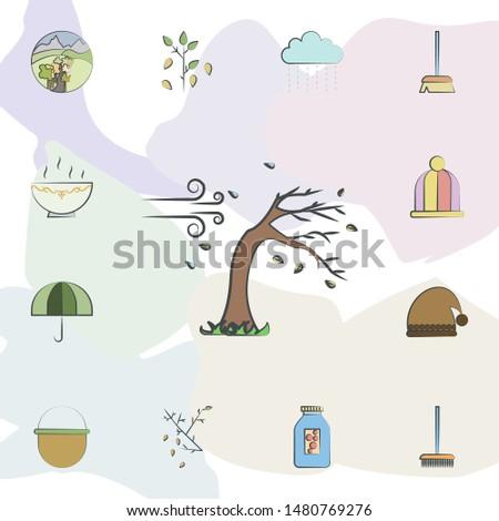Rainy and windy icon. Universal set of autumn for website design and development, app development