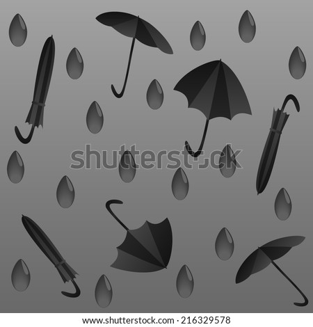 rainy autumn season, the gray weather, rain drops and umbrellas on a gray background