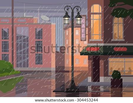 Rainy city. Vector flat cartoon illustration
