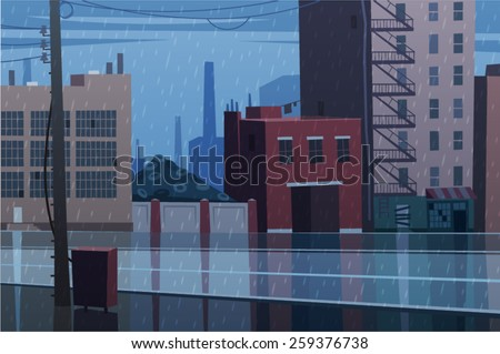 Rainy cityscape. Vector illustration.