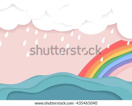 rainy cloud and rainbow over
