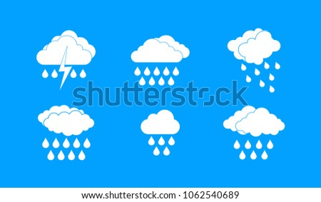 Rainy cloud icon set. Simple set of rainy cloud vector icons for web design isolated on blue background