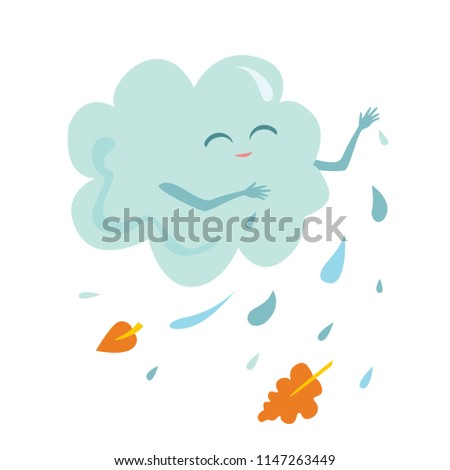Rainy cloud isolated on white background. Vector icon with illustration of funny cute character in child's cartoon style.
