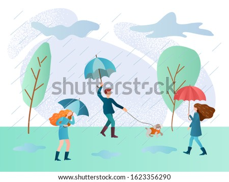 rainy day and people walking in