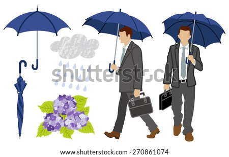 rainy day businessman set