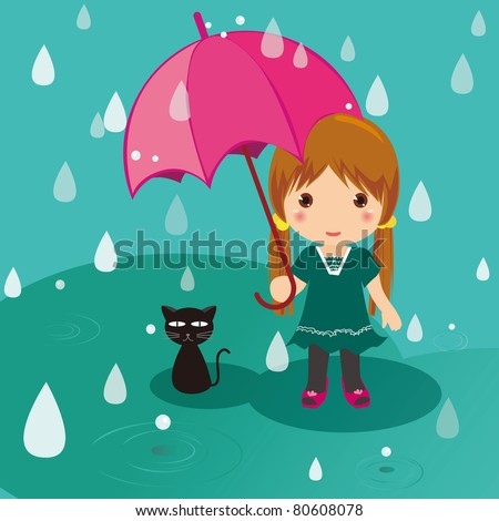 Rainy day cat and girl