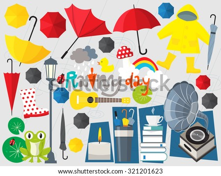 rainy day illustration umbrella