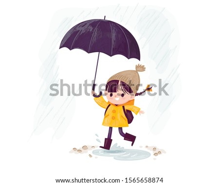 rainy day little girl with