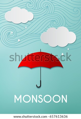 Rainy day, origami made umbrella and clouds on blue sky background