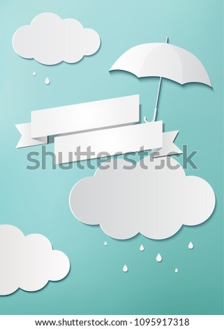 Rainy day, Origami made umbrella, flag and clouds