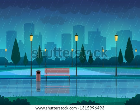 rainy day park raining public