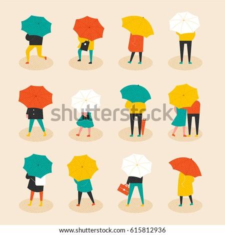 rainy day umbrella people vector illustration flat design
