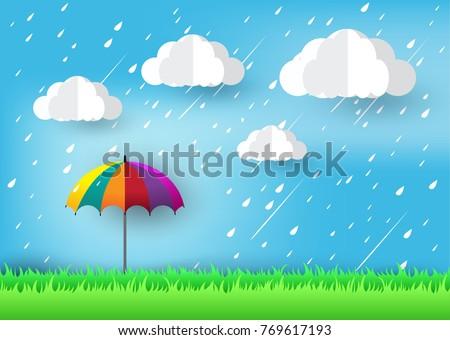 Rainy Day, umbrellas and rain drops , paper art