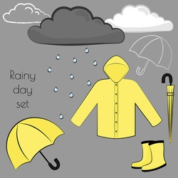 Rainy day vector flat illustration set with raincoat, rainboots and umbrellas in different positions in matching yellow colours. Include also dseasonal element like clouds in different styles