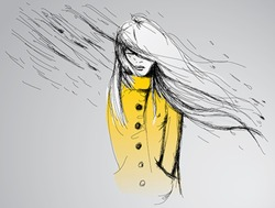 Rainy day / Young woman in yellow trench coat