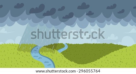 Rainy landscape vector seamless horizontal pattern