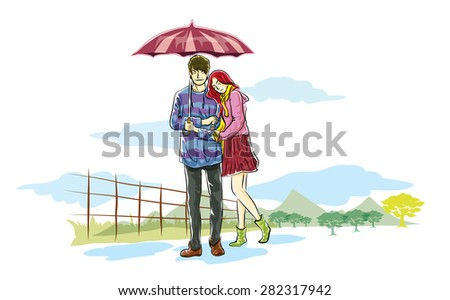 rainy lovers in nature