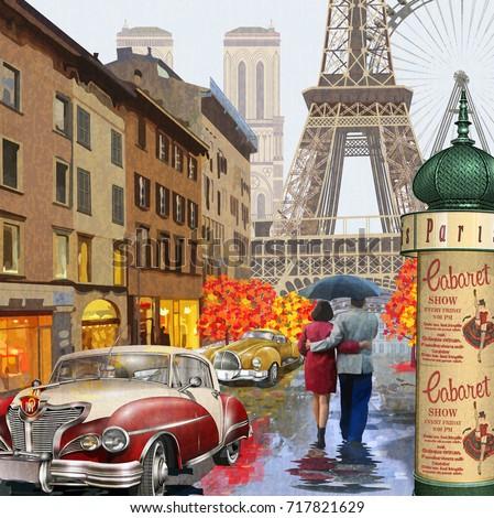 Rainy Paris vintage poster.
