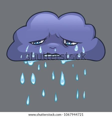 rainy sad cloud cartoon vector